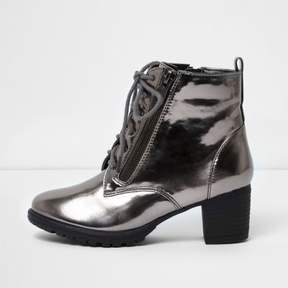River Island Girls grey metallic block heel lace-up boots