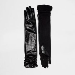 River Island Womens Black ruched long leather gloves