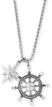 Effy Men's Ship's Wheel and Star Pendant Necklace in Sterling Silver