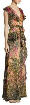 Badgley Mischka Printed Ruffle Silk Gown