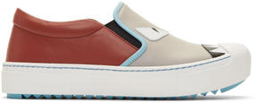 Fendi Grey and Red Bag Bugs Slip-On Sneakers