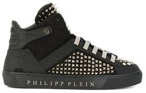 Philipp Plein Men's Black Leather Hi Top Sneakers.