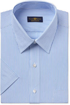 Club Room Men's Classic-Fit Easy Care Blue Bengal-Striped Short-Sleeve Dress Shirt, Created for Macy's