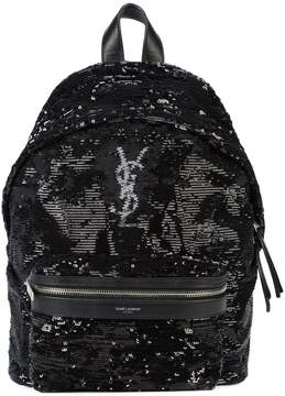 Saint Laurent logo monogram backpack - BLACK - STYLE