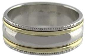 Scott Kay Platinum 18K Yellow Gold Milgrain Plain Band Ring 10.5