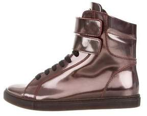 Brunello Cucinelli Metallic High-Top Sneakers w/ Tags