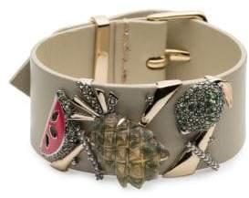 Alexis Bittar Lucite Enamel Fruit Swarovski Crystal Leather Buckle Cuff