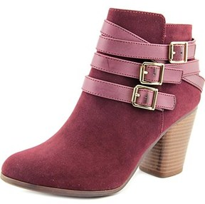 Material Girl Minah Women Round Toe Canvas Burgundy Ankle Boot.