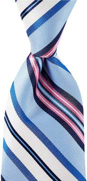Roundtree & Yorke Trademark Rainbow Stripe Traditional 3.12#double; Silk Tie