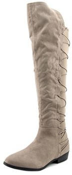 Material Girl Cayln Women Pointed Toe Canvas Gray Over The Knee Boot.
