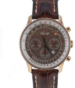 Breitling MonteBrillant R41370 18K Rose Gold & Leather Brown Dial Automatic 38mm Mens Watch 2012