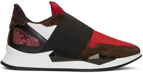 Givenchy Burgundy and Red Runner Slip-On Sneakers