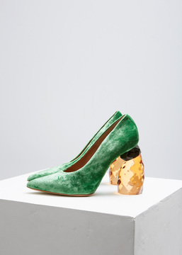 Dries Van Noten Green Velvet Jewel Heel Pump