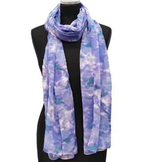 La Fiorentina Blue Ikat Rose Printed Scarf.