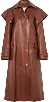 Calvin Klein Leather Trench Coat - Brown