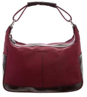 Tod's Patent Leather-Trimmed Nylon Hobo