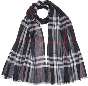Burberry Lightweight Check Wool Silk Scarf - Navy