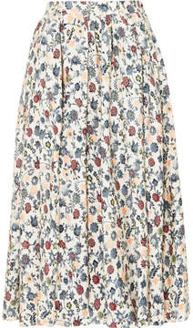 ADAM by Adam Lippes Gathered Floral-print Silk-crepe Midi Skirt - Off-white