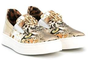 Roberto Cavalli leopard print slip-on sneakers
