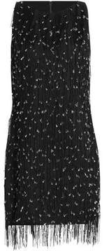 Badgley Mischka Fringed Beaded Silk Dress