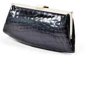Sonia Rykiel Pre-owned Black Silver Tone Crocodile Embossed Patent Leather Frame Clutch.