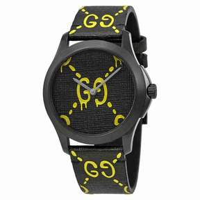 Gucci Ghost G-Timeless Black and Yellow Dial Men's Rubber Watch YA1264019