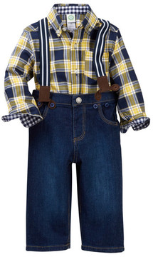 Little Me Yellow Plaid Woven Pant Set (Baby Boys)