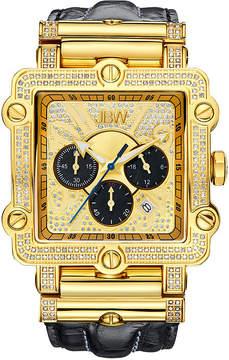 JBW Phantom Mens 2? CT. T.W Diamond Square Black Leather Strap Watch JB-6215-238-G