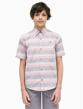 Calvin Klein boys horizontal stripe short sleeve shirt