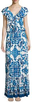 Alexia Admor Women's Tile Print Gathered Maxi Dress