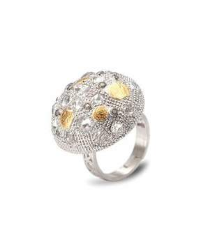 Coomi Opera Silver Crystal & Diamond Dome Ring, Size 6
