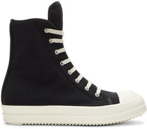 Rick Owens Black Perforated High-Top Sneakers