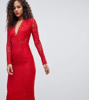 Asos Tall TALL Long Sleeve Lace Midi Pencil Dress