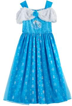 Disney Disney's Frozen Elsa & Olaf Girls 4-10 Plush & Velvet Off-Shoulder Dress-Up Nightgown