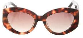 Linda Farrow Snakeskin-Trimmed Round Sunglasses