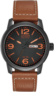 Citizen Eco-Drive Mens Black & Orange Leather Strap Watch BM8475-26E