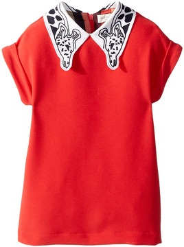 Paul Smith Solid Coral Dress w/ Giraffe On Collar Girl's Dress