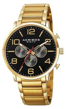 Akribos XXIV Men's Quartz Multifunction Bracelet Watch - Gold/Black