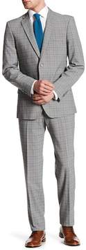 English Laundry Gray Windowpane Plaid Two Button Notch Lapel Suit