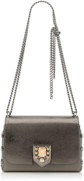 Jimmy Choo LOCKETT PETITE Anthracite Etched Metallic Spazzolato Shoulder Bag with Pave Crystal Lock