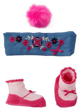 Little Me Chambray Headband, Pompom Clip, & Booties (Baby Girls)