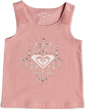 Roxy Smocked Cotton Tank Top, Little Girls