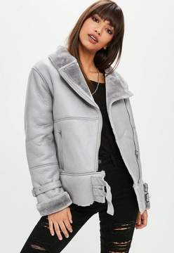 Missguided Grey Ultimate Aviator Jacket