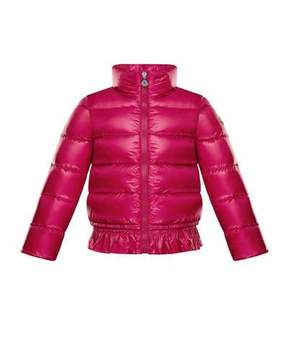 Moncler Anette Ruffle-Trim Quilted Coat, Size 4-6