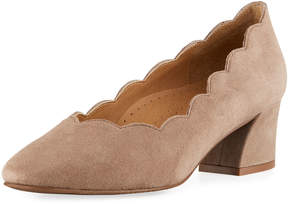 Neiman Marcus Pammie Scallop Slip-On Pump, Brown