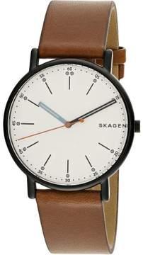 Skagen Men's Signature SKW6374 Black Leather Japanese Quartz Fashion Watch