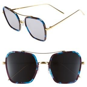 Gentle Monster Women's 53Mm Retro Square Sunglasses - Blue/ Burgundy/ Black Mirror