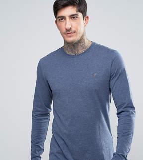 Farah Twisted Yarn Long Sleeve T-Shirt in Navy Marl