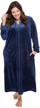 Carole Hochman Plus Size Velvet Long Zip Robe Women's Robe