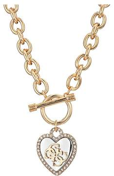 GUESS Pave Framed Heart Toggle Necklace with 4 G Logo Necklace